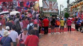 韓國瑜下午造訪鳳山龍山寺,現場相迎的韓粉人數不到60名。(圖/翻攝自公民割草行動)