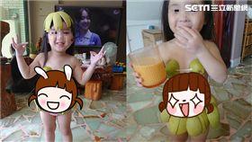 有一種餓,叫阿嬤覺得你會餓!一名網友在臉書抱怨,說她中秋連假把女兒送給媽媽照顧,想不到女兒回來時,身形居然「圓」了一圈,可愛的小肚子都凸了出來,她也跟大家分享女兒穿柚子裝的搞笑模樣,吸引2.5萬網友按讚。(圖/網友授權提供)
