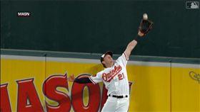 ▲金鶯中外野手海斯(Austin Hays)沒收小葛雷諾(Vladimir Guerrero Jr.)全壘打。(圖/翻攝自MLB官網)