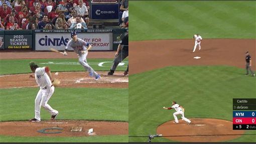 ▲狄格隆(Jacob deGrom)強襲球,卡斯提歐(Luis Castillo)秀反手擋空手接傳美技。(圖/翻攝自MLB官網)