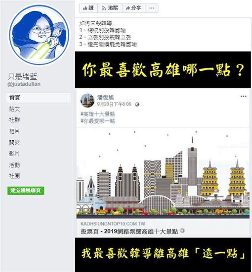 臉書粉專「只是堵藍」發文,2019網路票選高雄十大景點,潘恆旭
