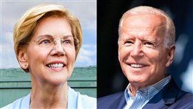 美國一份最新的民主黨總統初選民調指出,聯邦參議員華倫(左)在關鍵愛阿華州的支持度為22%,首度超越前副總統拜登(右)。(左圖取自facebook.com/ElizabethWarren、右圖取自facebook.com/joebiden)