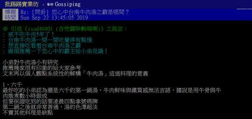 牛肉湯,台南,六千,第一鍋,霸主,PTT 圖/翻攝自PTT