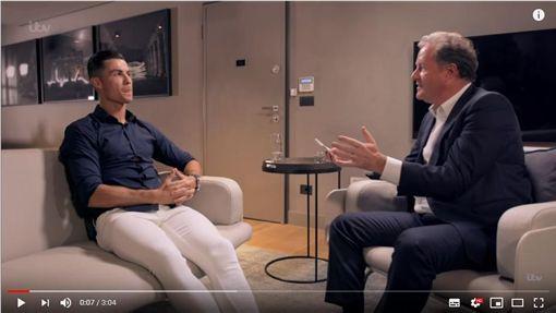 ▲C羅(Cristiano Ronaldo)接受摩根(Piers Morgan)專訪。(圖/翻攝自ITV YouTube頻道)