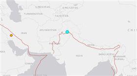 巴基斯坦東北部24日發生規模5.2淺層強震(圖/翻攝自USGS)