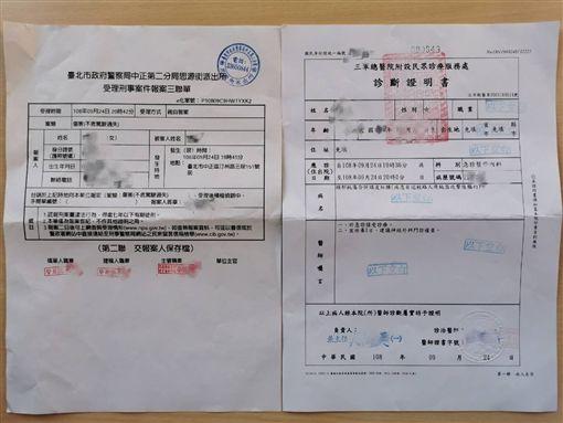 知名部落客「A+虎媽」貼出報案三聯單與診斷證明書(翻攝臉書)