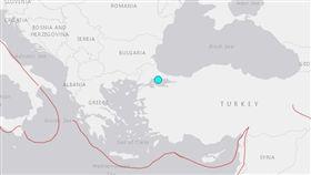 土耳其第一大城伊斯坦堡26日下午發生規模5.7地震_圖/USGS