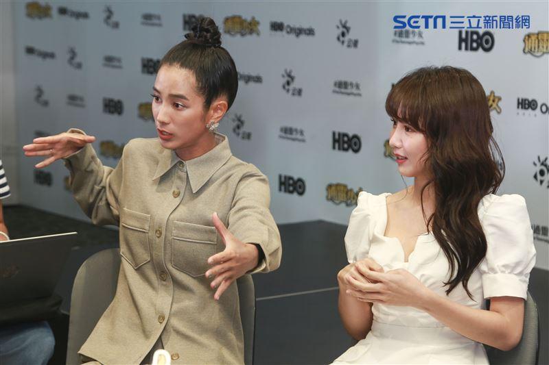《通靈少女》第二季記者會出席演員溫貞菱、郭書瑤。(圖/記者林士傑攝影)