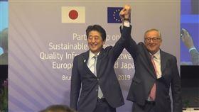 歐日領導人簽署基礎設施合作協議歐盟執委會主席榮科(右)與日本首相安倍晉三(左)27日在布魯塞爾簽署一項歐日基礎設施合作協議。中央社記者唐佩君布魯塞爾攝 108年9月28日