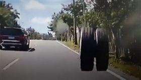 花蓮,蘇花公路,台9線,輪胎,砂石車(圖/翻攝畫面)