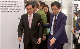 睽違了11年,陳水扁28日重返民進黨中央參與黨慶活動。