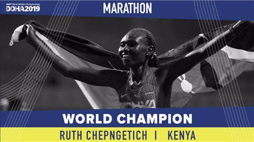 ▲肯亞切普格蒂奇在女子馬拉松摘金。(圖/取自IAAF推特)
