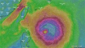 米塔颱風 風場圖,翻攝自windy