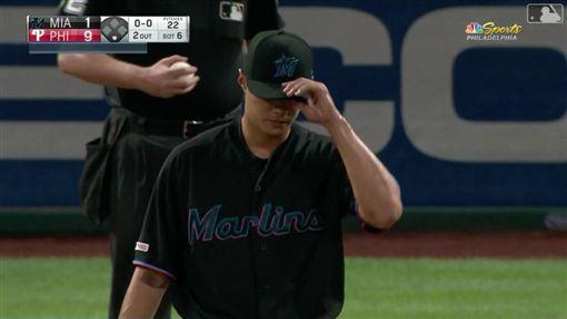 ▲陳偉殷被哈波(Bryce Harper)敲3分砲。(圖/翻攝自MLB官網)