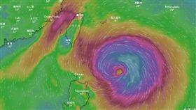 米塔颱風,風場圖,翻攝自windy