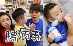 YouTuber蔡阿嘎和老婆「二伯」的1歲兒子「蔡桃貴」罹患腸病毒,在家隔離7天。(圖/翻攝自YouTube、IG)