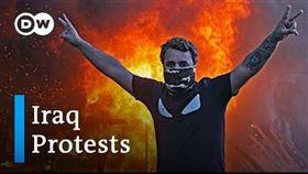 伊拉克示威釀60死上千傷,善於煽動的教士薩德(Moqtada Sadr)呼籲政府下台。(圖/翻攝自DW News youtube頻道)