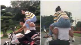 3貼狂飆「開腿坐他肩上」!傻妹馬路上狂慘叫 結局超療癒(圖/翻攝自YouTube)