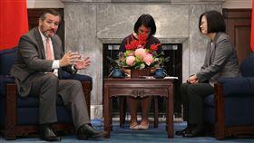 克魯茲:台灣向世界展示自由民主是行得通的總統蔡英文(右)10日接見美國聯邦參議院外交委員會成員克魯茲(Ted Cruz)(左),克魯茲提到,台灣非常重要,不只對亞洲重要,對全世界來說都非常重要;台灣向世界展示「自由與民主是行得通的」。中央社記者鄭傑文攝 108年10月10日