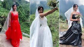 正妹穿「塑膠袋婚紗」拍影爆紅!打工妹翻身直播主月入上萬(圖/翻攝自紅星新聞)