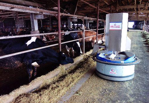 開放外勞救急 傳統農業終需轉型(3)農業外勞今年開放,農委會表示,就長期而言,農業勞動力不足,未來還是要朝向機械化、自動化發展,節省人力需求,農業轉型才是長遠之計。圖為自動化推料餵食及清理機器人。(農委會畜牧處提供)中央社記者楊淑閔傳真 108年10月11日