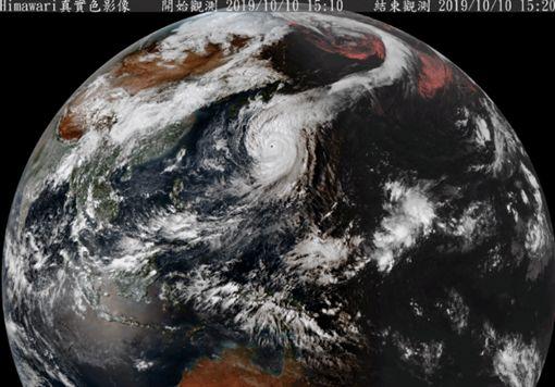 哈吉貝颱風雲帶綿延極地(圖/翻攝自氣象局)