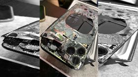 iPhone11 Pro,爆廢公社,Apple,手機,遺照,破碎,跳車,騎車, 圖/翻攝自爆廢公社臉書