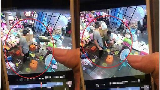台北,士林夜市,撈魚攤,亮刀,比中指,外籍客(圖/翻攝畫面)