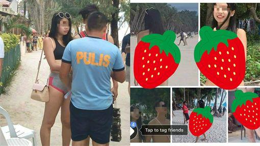 比基尼只有一條線!台女「穿著暴露」在長灘島遭逮圖/翻攝自臉書