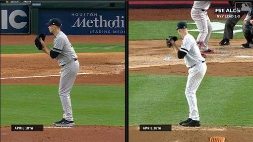 ▲洋基先發投手派克斯頓(James Paxton)疑似投球動作遭識破,僅投2.1局提早退場。(圖/翻攝自MLB官網)