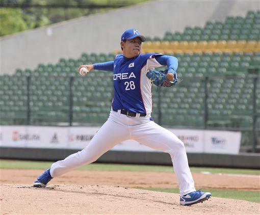 ▲亞錦賽中國隊韓國隊蘇珩準。(圖/中華棒協提供)