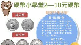 中央銀行在臉書粉絲團開講,指出新版10元硬幣向左轉,會有「國泰」與「民安」等字樣,以及台灣圖案,增加防偽功能。(圖/翻攝自facebook.com/ cbc.gov.tw)