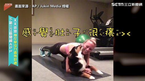 ▲狗狗趁主人運動時找她玩(圖/AP/Jukin Media 授權)