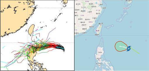 最新(16日20時)歐洲中期預報中心(ECMWF)系集模式50次的模擬顯示,除極少部分模擬路徑受西風帶的導引,轉向東北;絕大部分模擬路徑被低層的東北風所導引,折向呂宋島(左圖)。與中央氣象局最新(17日2時)的「路徑潛勢預測圖」(右圖)類似,對台灣無直接影響。(左圖擷自ECMWF)