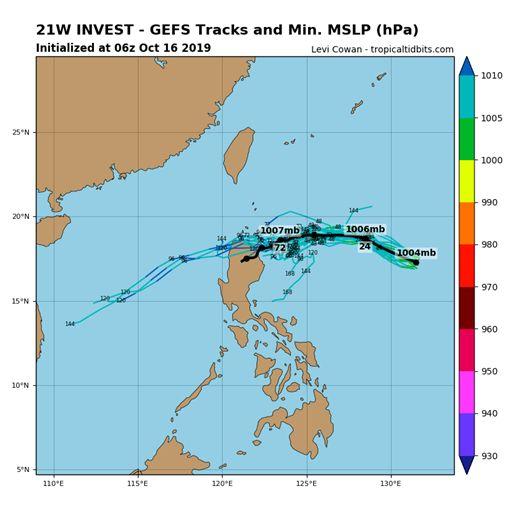全球預報系統(GFS)模擬路徑圖。(圖擷取自tropicaltidbits)