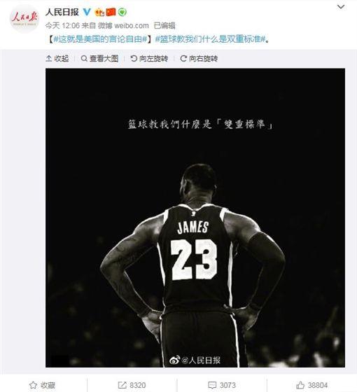 NBA/中國官媒發圖挺詹皇!網無言NBA,中國,反送中,香港,Daryl Morey,言論自由,Adam Silver,LeBron James翻攝自微博人民日報