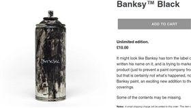 英國塗鴉大師班克西首次開了網路商店,販賣的商品充滿惡趣味,像是有班克西簽名的廢噴漆罐。(圖取自shop.grossdomesticproduct.com)