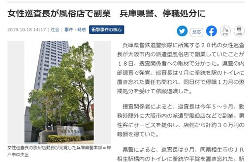 日本,警花,風俗店,兼差(圖/翻攝產經新聞)