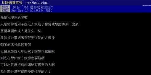 台灣,老人,住院,保險,高額,PTT 圖/翻攝自PTT