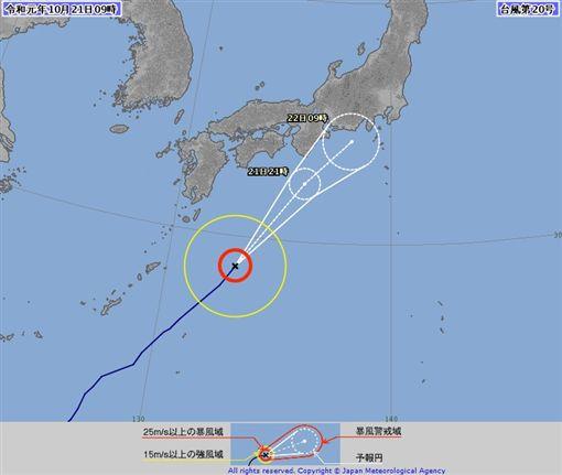 颱風浣熊正在日本九州東南海上,由西日本朝東日本的太平洋一側前進。(圖取自日本氣象廳網頁www.jma.go.jp)