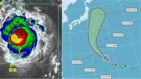 左圖:今(22)日3:30紅外線色調強化衛星雲圖顯示,颱風眼清淅可見。(擷自RAMMB)  右圖:中央氣象局最新(22日2時)「路徑潛勢預測圖」顯示,「博羅依」呈現大迴轉的特徵,全程都在日本的東南方海面,與陸地有一段距離,不會侵日。