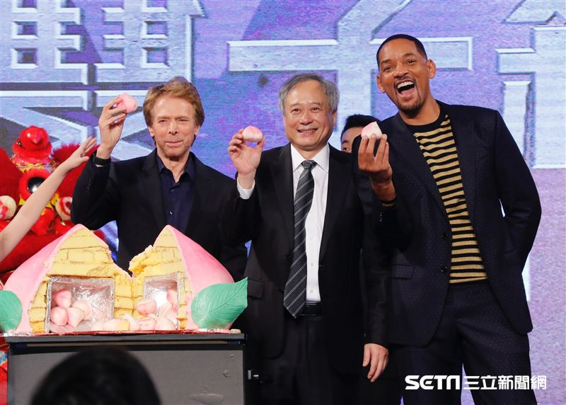 李安與威爾史密斯和製片傑瑞布洛克海默出席《雙子殺手》台北首映會。(圖/記者林聖凱攝影)