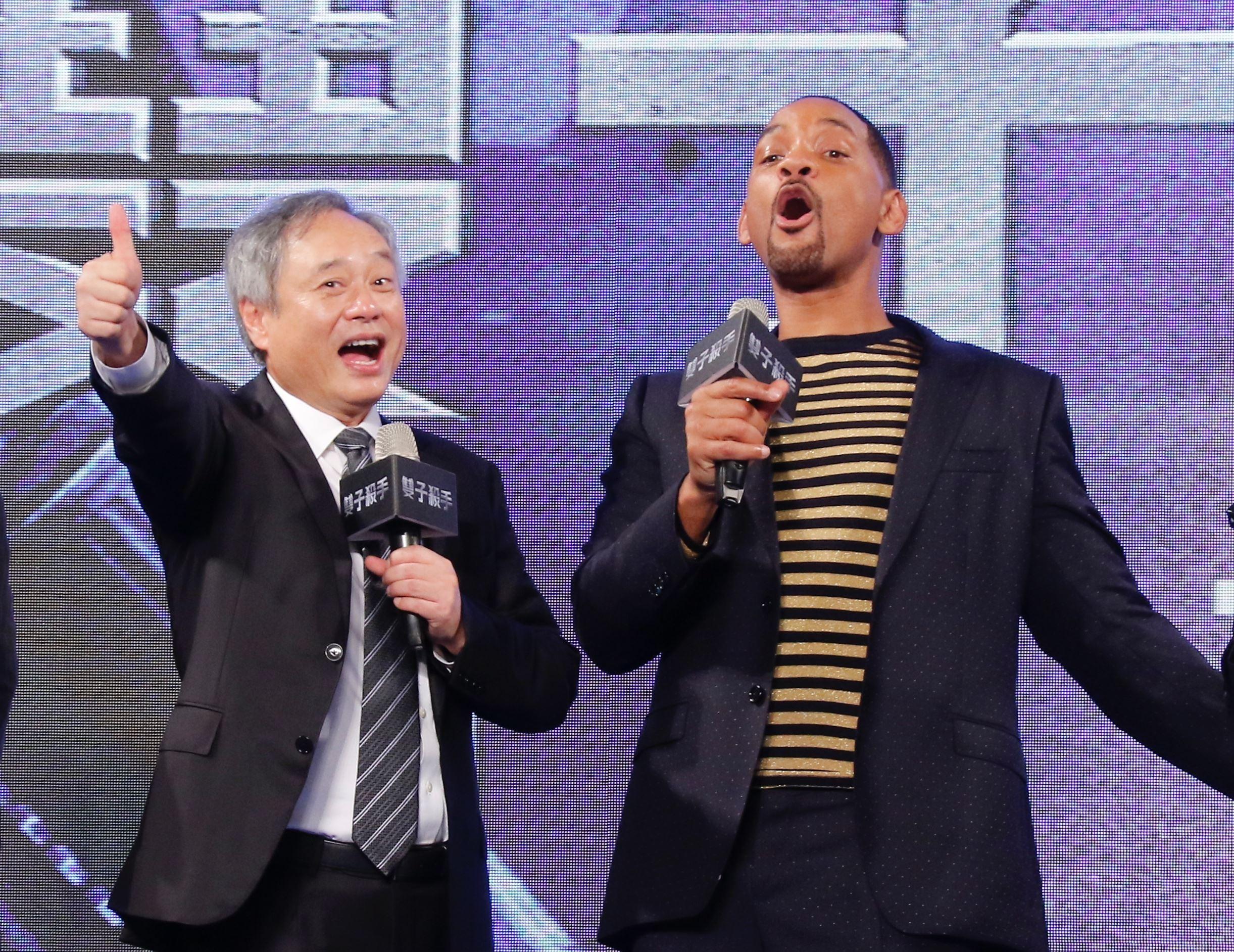 導演李安與威爾史密斯出席《雙子殺手》台北首映會。(圖/記者林聖凱攝影)