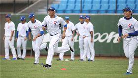 12強中華隊開訓(2)世界12強賽中華隊23日在桃園棒球場舉行開訓儀式,全隊在外野草皮進行跑步熱身。中央社記者張新偉攝  108年10月23日