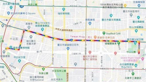一年一度同志大遊行將於26日登場,Google在地圖上寫上Taiwan Pride,秀出同志遊行的路線。(圖取自Google Maps網頁google.com/maps)