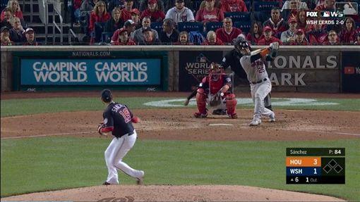 ▲奇里諾斯(Robinson Chirinos)6局上的陽春砲打退國民先發投手桑契斯(Anibal Sanchez)。(圖/翻攝自MLB官網)