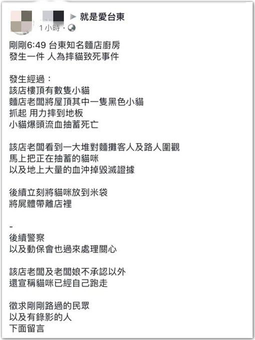 台東,麵店,虐貓,台東大小事(圖/翻攝台東大小事)