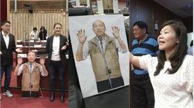 民進黨議員高閔琳,國民黨議員李雅靜,韓國瑜人形立牌,組合圖