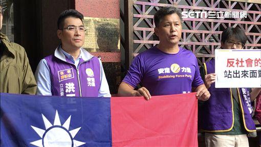 「Q爸」安定力量立委參選人李國憲(右)曾在北大教客,對於學生的行為,痛批他沒有這種學生。(圖/記者楊佩琪攝)