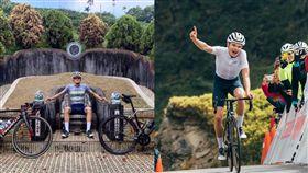 外國人墳墓當「龍椅」豪邁坐 台灣單車比賽勇奪冠軍 圖翻攝自加藤軍台灣粉絲團 2.0臉書、交通部觀光局